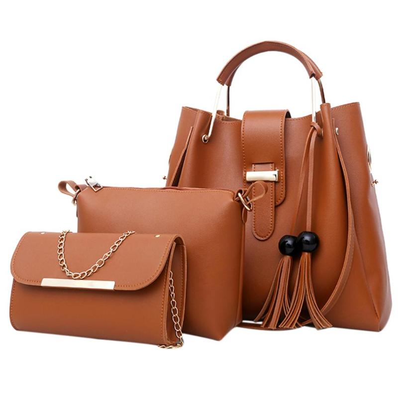 3Pcs/Set PU Leather Women Handbag Designer Elegant Tassels Crossbody Bags For Women Big Shoulder Bag Female Bucket Handbags
