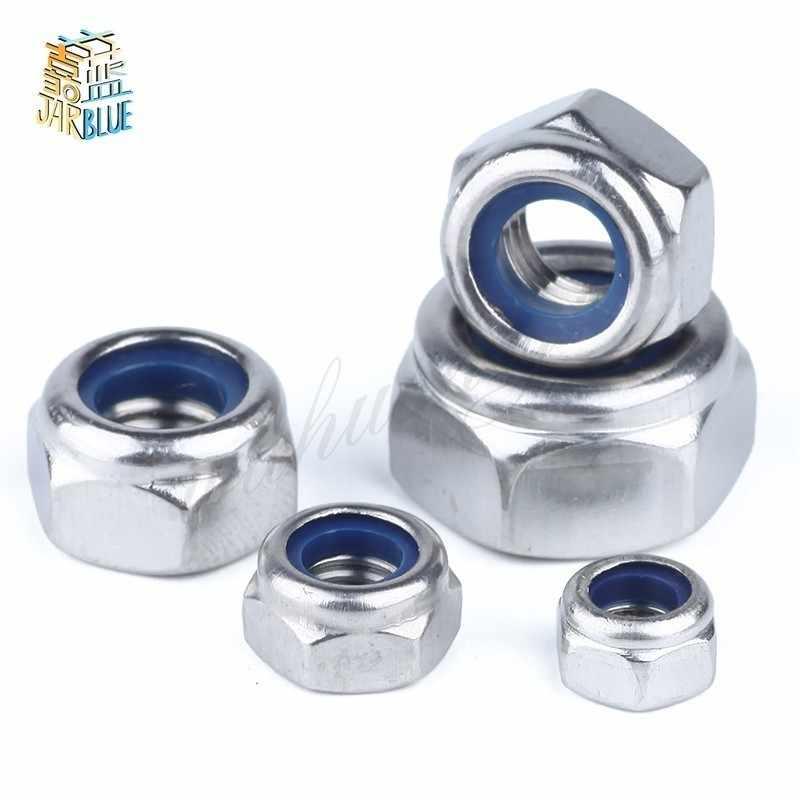 Nails Size : M16 5pcs Screws Nylon Lock Nut 304 Stainless Steel Hex Hexagon Locknut M2 M2.5 M3 M4 M5 M6 M8 M10 M12 M14 M16 M20 M24 Nylon Nut DIN985 Nuts