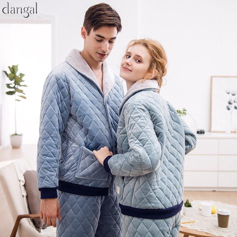 Dangel Couple Pajamas Man Women Pajamas Coral Fleece Winter Warm Long Sleeves Couple Pajamas Casual Thick