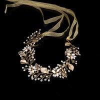 Gold rhinestone pearl leaf bride Forehead Headband jewelry bride Wedding dress modeling Accessories