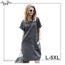 Summer cotton linen causal Dresses For Women o Neck Short Sleeve knee length plus size 5xl casual Dress for holiday ouc1147 short sleeve white lotus printing o neck women dresses casual cotton linen knee length dress vestidos summer plus size