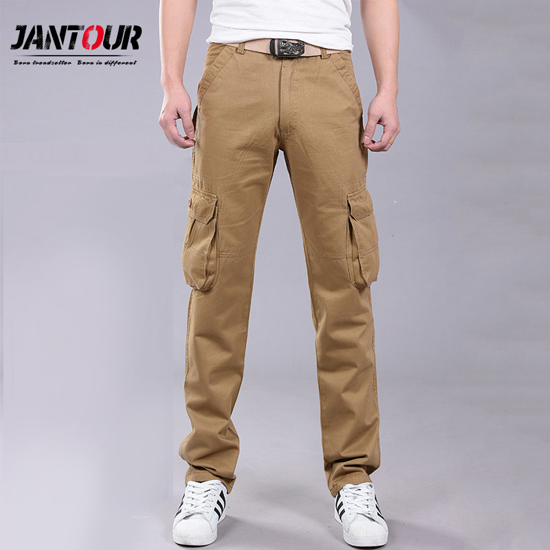 jeans   Men Overalls Full-Length Multi-Pockets Plus Size Trousers Cotton Loose Cargo Tooling Tactical Styles Men Casual Trousers
