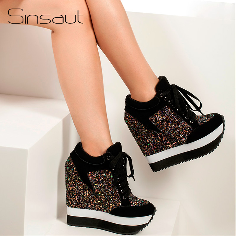Sinsaut Glitter Shoes Women in Women s Pumps Increased High Heels Shoes Wedge Heels Women Pumps
