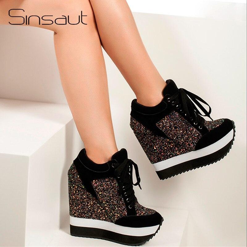 Sinsaut Scintillio Scarpe Da Donna in Donne scarpe tacco alto Aumento Tacchi Alti Scarpe Talloni di Cuneo Pompe Delle Donne Feminino Sapato Feminino