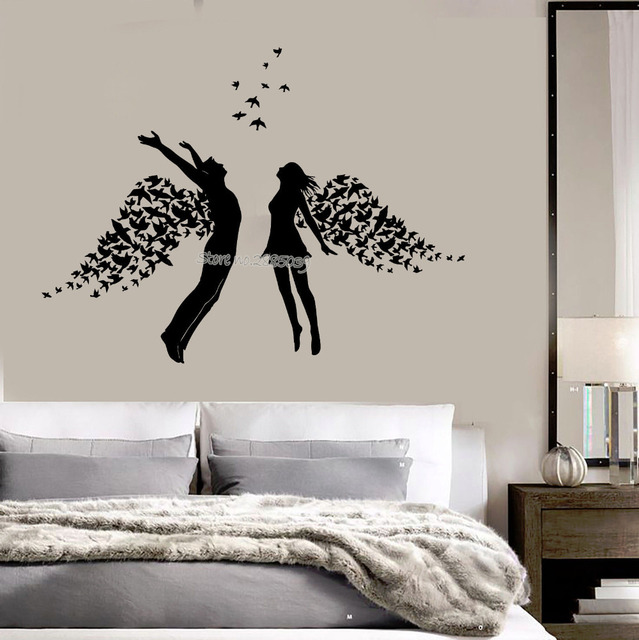 High Quality Teens Rooms Vinyl Wall Decal Love Couple Romance Wings Bedroom Stickers  Romantic Interior Wall Decor DIY Murals Wallpaper LA804