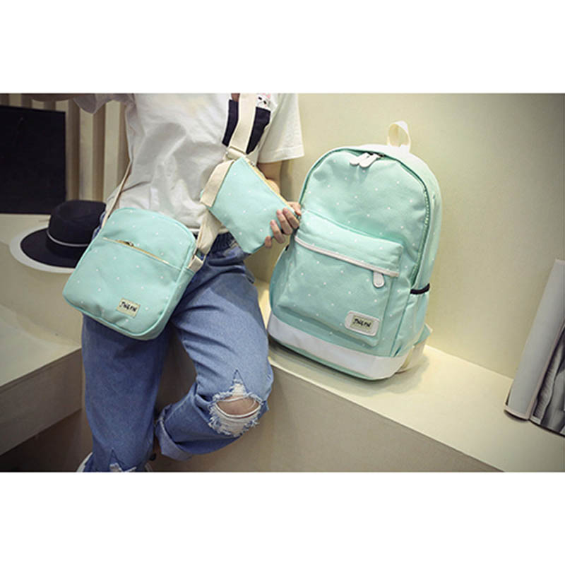 Women Backpack Book-Bag Laptop Canvas Big-Girl Student Ladies with Purse 3pcs-Set High-Quality