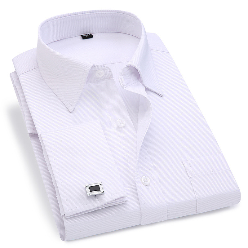 Men French Cufflinks Shirt 2019 New Men's Stripes Shirt Long Sleeve Casual Male Brand Shirts Slim Fit French Cuff Dress Shirts(China)