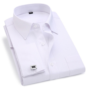 Men French Cuff Dress Shirt 2021 New White Long Sleeve Casual Buttons Shirt Male Brand Shirts Regular Fit Cufflinks Included 6XL 1