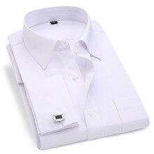 Chemise avec boutons de manchettes pour homme, rayures, manches longues, coupe cintrée, marque, française, 2020