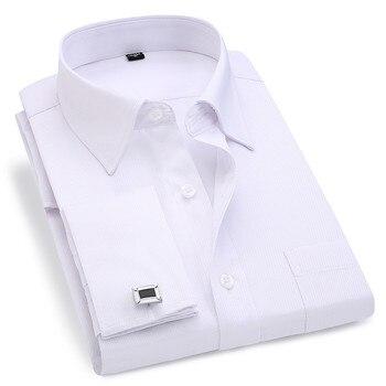 1897fe80f4e43 Erkekler Fransız Kol Düğmeleri Gömlek 2019 Yeni erkek Çizgili Gömlek Uzun  Kollu Rahat Erkek Marka Gömlek Slim Fit Fransız Manşet elbise Gömlek