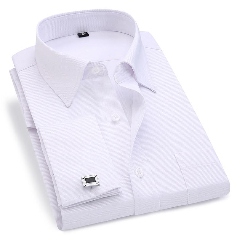 Men French Cufflinks Shirt 2020 New Men's Stripes Shirt Long Sleeve Casual Male Brand Shirts Slim Fit French Cuff Dress Shirts