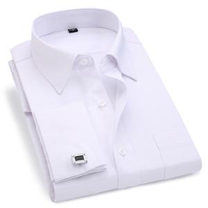 Image 1 - Men French Cufflinks Shirt 2020 New Mens Stripes Shirt Long Sleeve Casual Male Brand Shirts Slim Fit French Cuff Dress Shirts