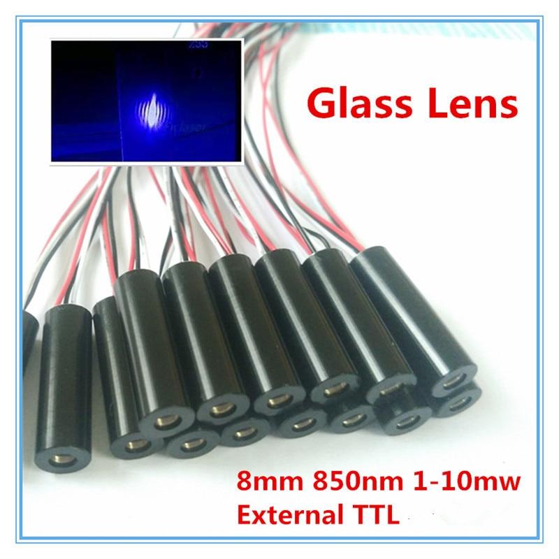 External TTL 8mm 850nm 1mW 5mW 10mW Glass Lens IR Dot Laser Module Industrial Grade APC Driver