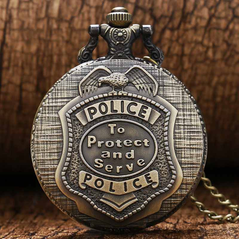Creative Quartz Protect And Serve Retro Pendant Bronze Full Hunter Pocket Watch Police Antique Style Unisex Necklace Chains Gift