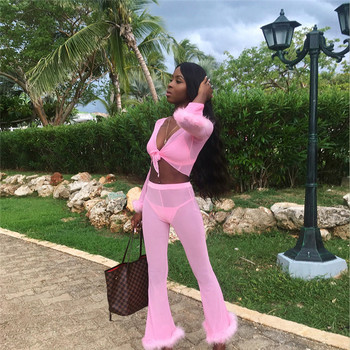Adogirl Solid Pink Feather Chiffon 4 Piece Set Long Sleeve Cardigan + Bra Top + Thong + Flare Pants Women Sexy Club Outfits Suit 5