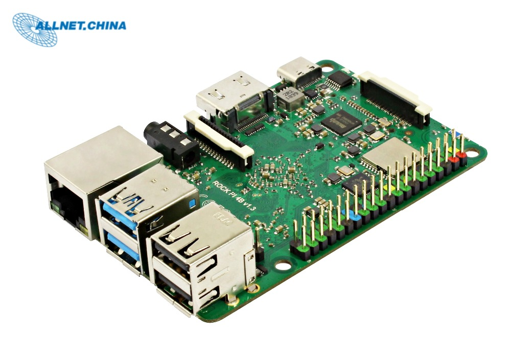 RK3399 CHIP SBC Development Board ROCK PI 4B V1.4 Version - Board Only (With Dualband 2,4/5GHz WLAN/Bluetooth 5.0) 4GB