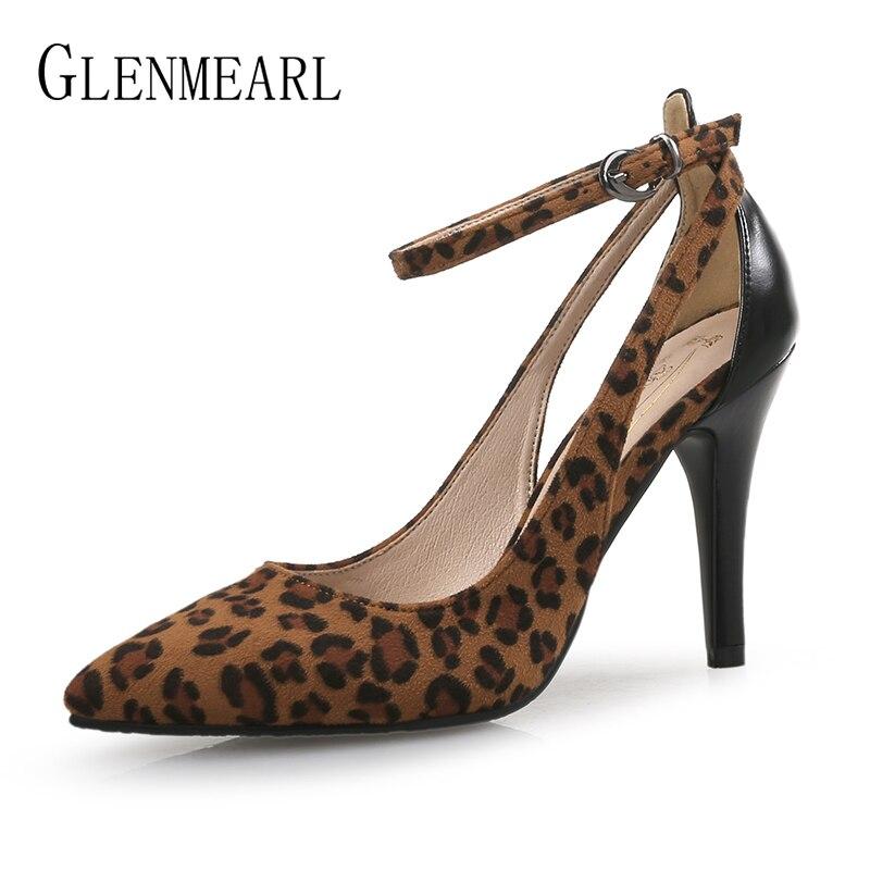 Mode Heels Femmes pink Talon Blue Chaussures light Léopard Leopard Brides Feamle Décontracté Cheville Dames De dark Leopard Hauts Pompes Pointu Grande Heels Mariage Talons À Mince Bout Taille PO0k8nw