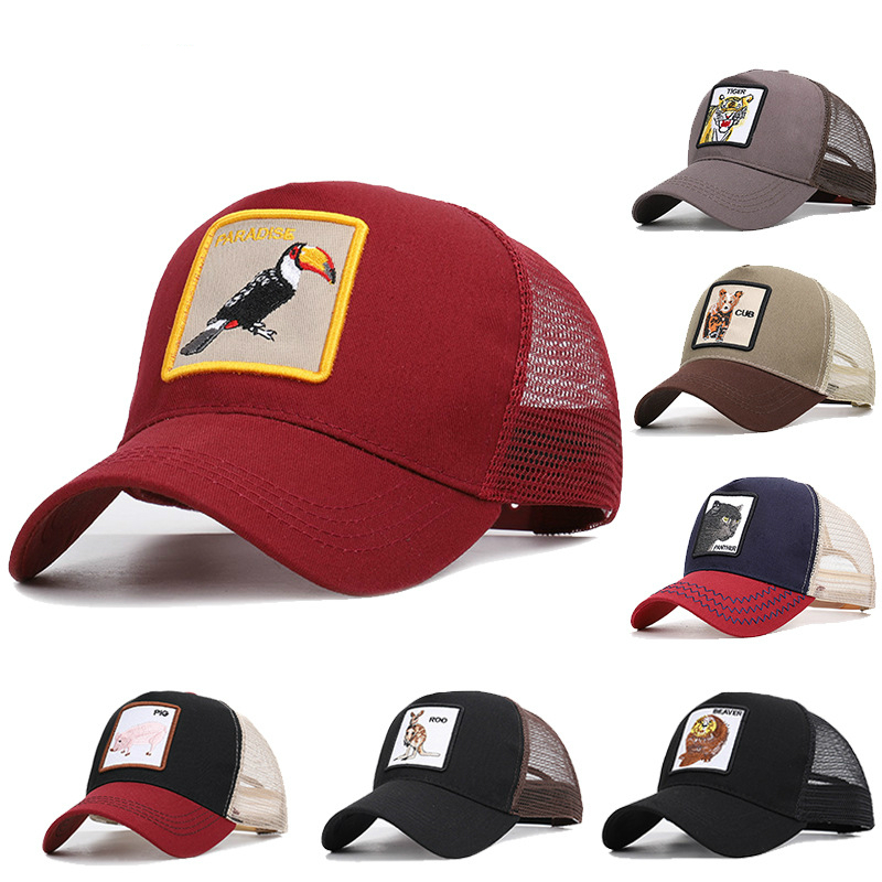 Hot Sale Animal   Cap   Gorilla Beaver Panther Roo Bird Tiger Summer   Baseball     Cap   Men Women Mesh Hat Breathable Casquette 17 Colors