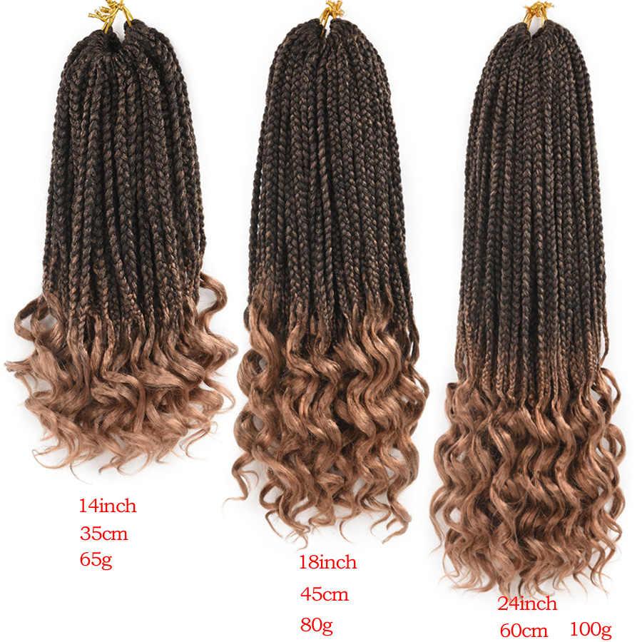 TOMO 14 18 24 pulgadas caja trenzas puntas rizadas sintético 22 hebras cabello tejido extensiones de cabello de ganchillo 6 colores negro rojo disponible