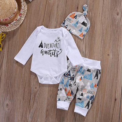Newborn Baby Boy Long Sleeve Top Romper +Long Pants Hat 3PCS Outfits Printed Hills Boys Clothes Set 0-18 Months