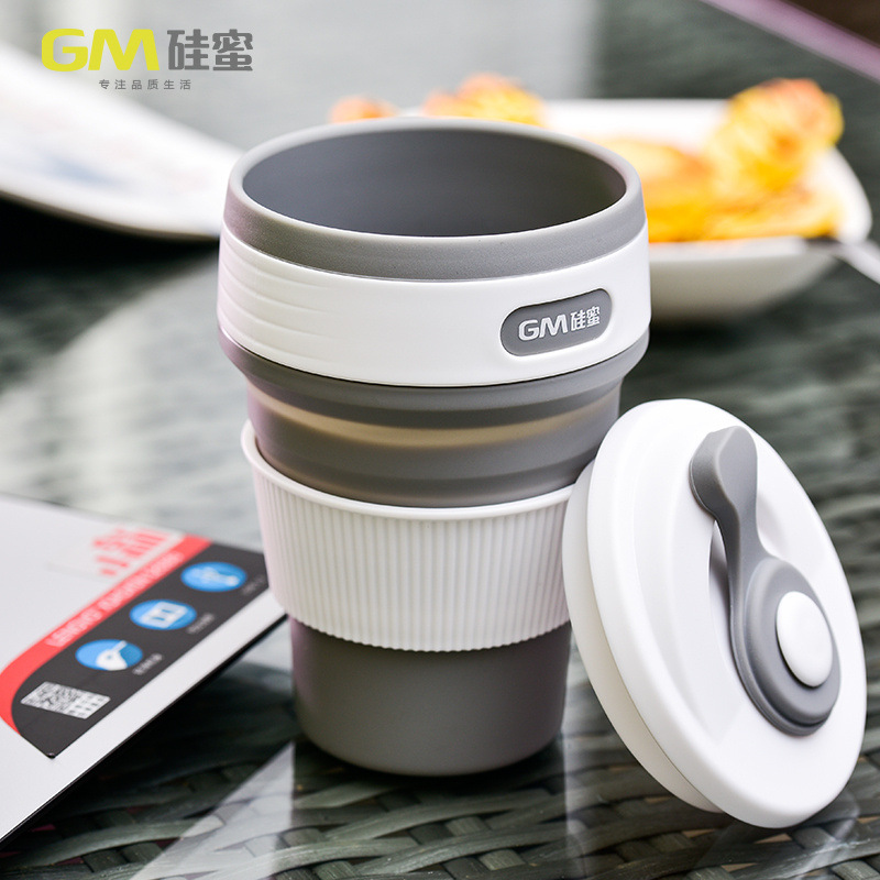 Telescopic coffee cup outdoor travel creative sports mug portable silicone folding function 350ML