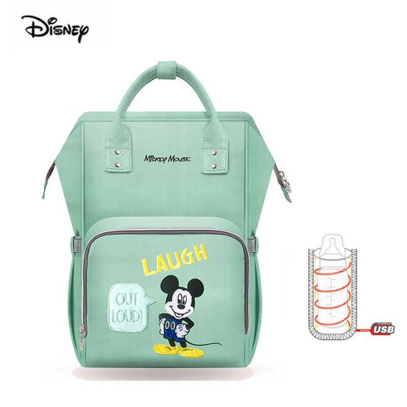 Disney minnie fralda mochila ponto onda multifuncional à prova dwaterproof água grande capacidade mãe saco para fraldas saco do bebê para a mãe viagem