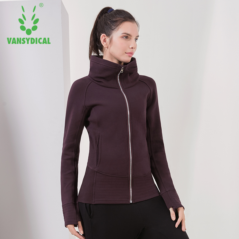 Vansydical Winter Sports Running Jacket Women's Warm High-collar Zipper Windproof Sportswear Tops Outdoor Workout Coat