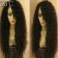 Venta caliente peruana pelucas delanteras del cordón rizado sin cola peluca del frente del cordón 8a en bruto rizado cabello humano virginal rizado peluca del pelo del bebé
