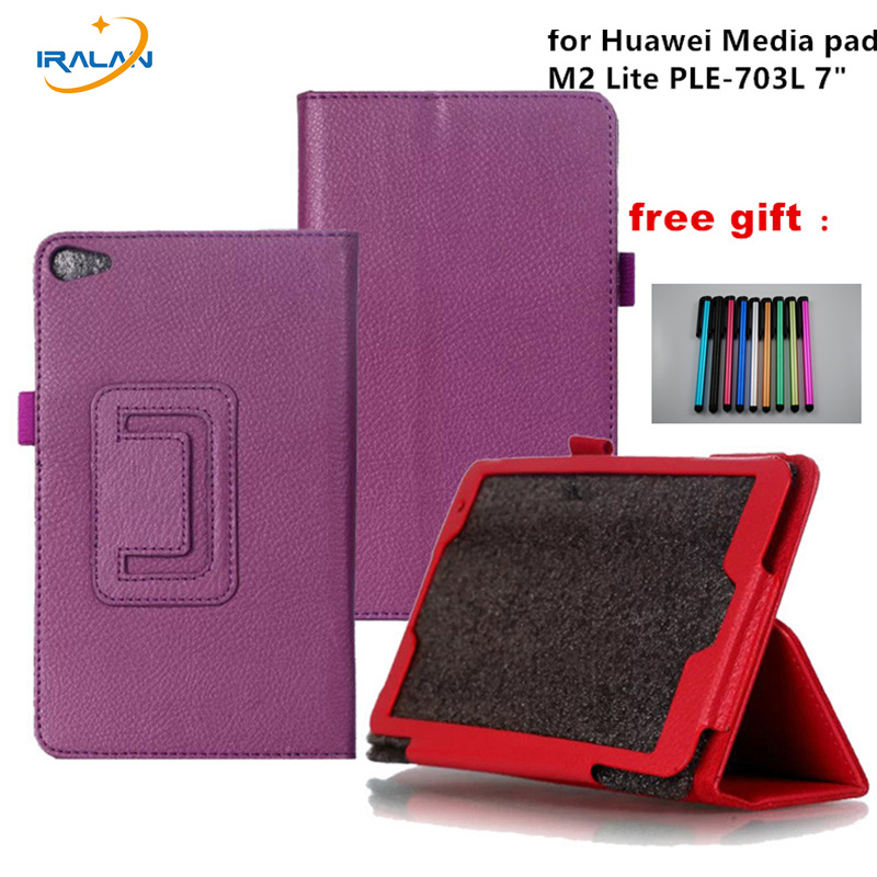 New Case for Huawei Media pad M2 Lite PLE-703L 7 Cover PU Leather Flip Folding Case Shell Tablet PC Cases +stylus free shipping new case for huawei media pad m2 lite ple 703l 7 cover pu leather flip folding case shell tablet pc cases stylus free shipping