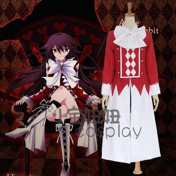 Nouveau Anime Pandora coeurs Cosplay Alice noir-lapin Halloween ensanglanté lapin noir COS vêtements ensemble complet (haut + jupes + manteau + nœud-k