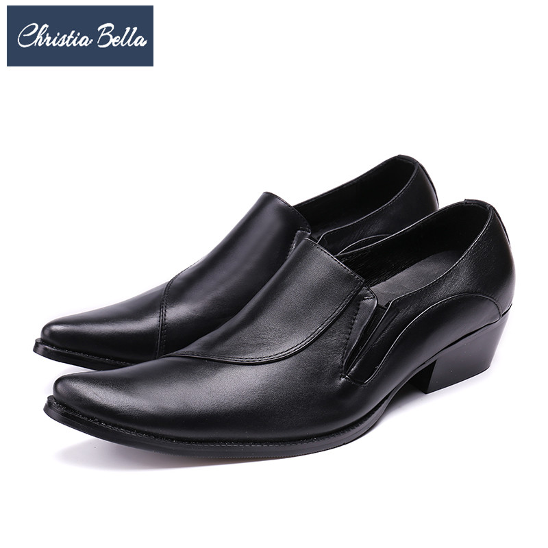 Christia Bella New Italian Business Dress Shoes for Men Fashion Genuine Leather Pointed Toe Formal Shoes Male Wedding Shoes 2017 new fashion italian designer formal mens dress shoes embossed leather luxury wedding shoes men loafers office for male