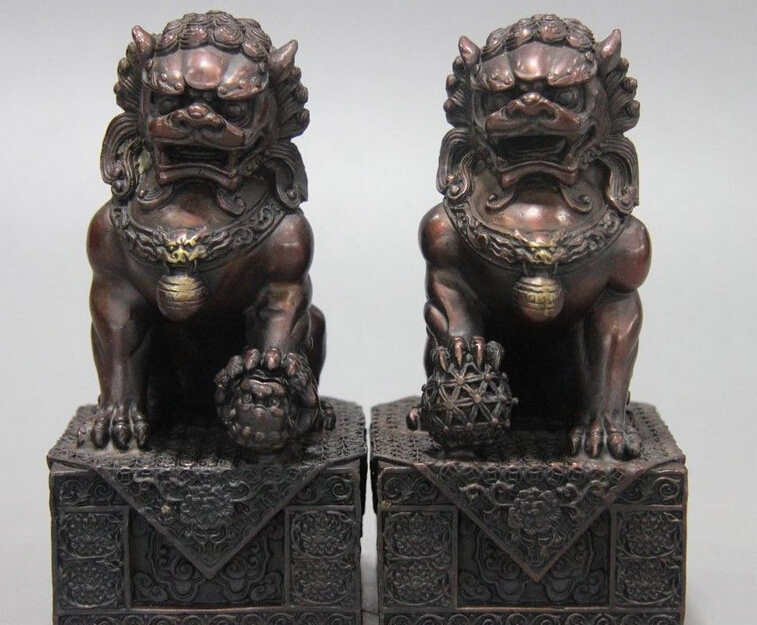 Bi002133 5 Chinese Bronze Copper Fengshui Auspicious Fu Foo Dog Lion Guardian Door Statue