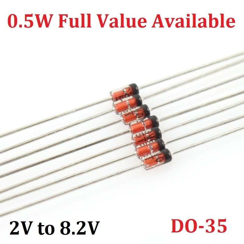 100PCS 1/2W Zener Diode BZX55C 0.5W 2V0 2V2 2V4 2V7 3V0 3V3 3V6 3V9 4V3 4V7 5V1 5V6 6V2 6V8 7V5 8V2 2.2/2.4/2.7/3.3/3.6/3.9/4.3V