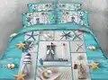 3d literie reine taille couvre lit couverture de lit couettes ensemble de draps double king size tissé 500TC étoile de mer coquille plage mer paysage