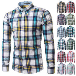 Мужская клетчатая рубашка с длинным рукавом, Весенняя рубашка, брендовая мужская клетчатая рубашка, хлопковые мужские повседневные