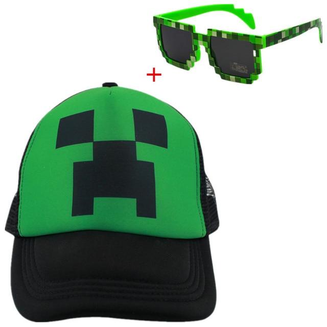 83c95148a Minecraft baby beanie sun hats children snapback Caps baseball Cap summer  toddler kids boy girls hat bonnet enfant + glasses