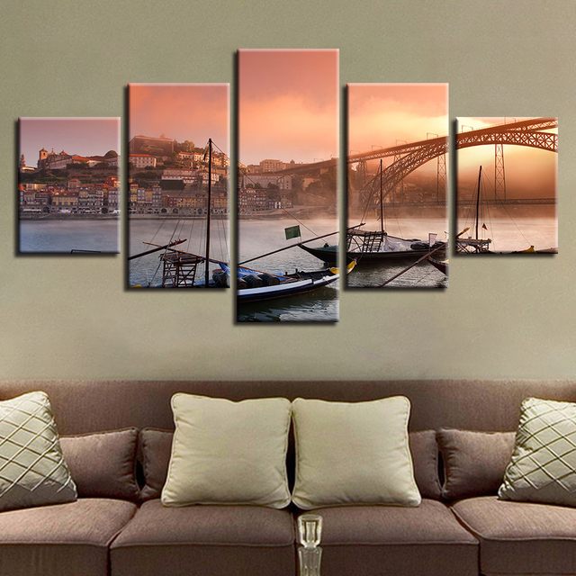 Aliexpress Com Buy 5 Panels Dusk Sunset Boat Printed: Home Decor Print Painting Modular Frame 5 Panel Sunset