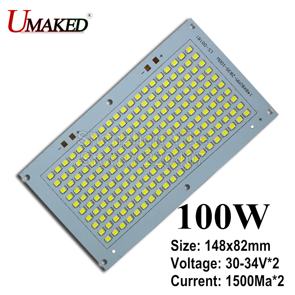 100W 148x82mm 100% Full Power LED Flooding PCB SMD2835 led PCB board,10000lm Aluminum plate for led floodlight