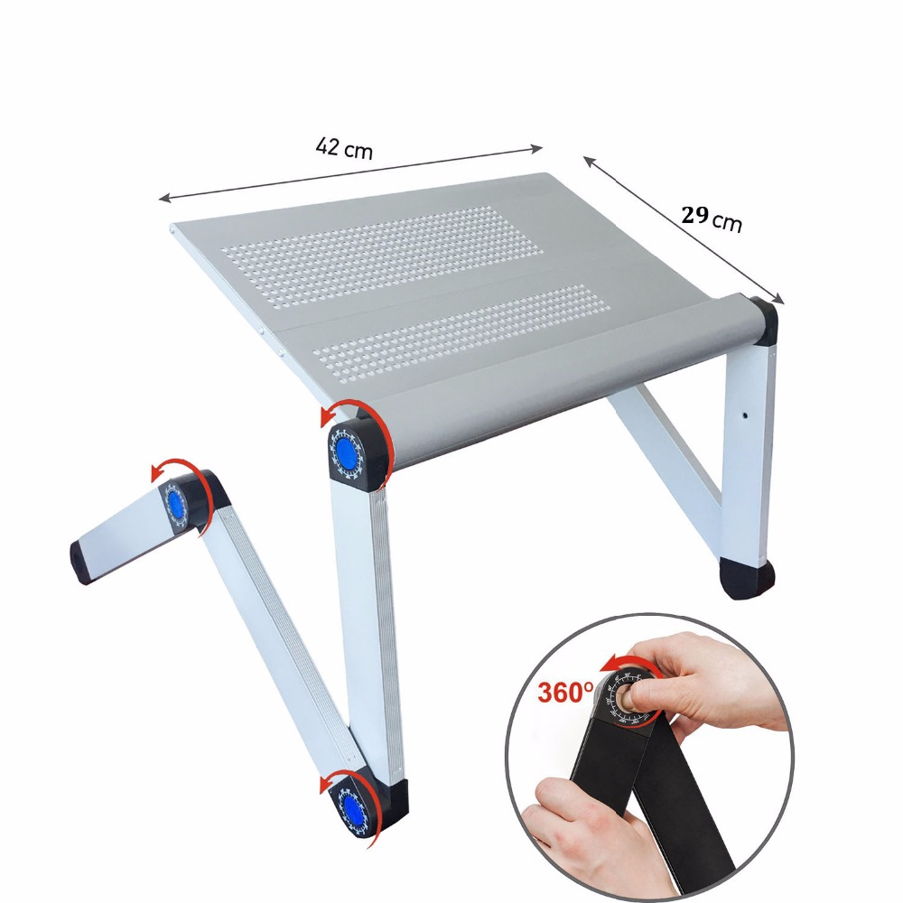 Adjustable Portable Laptop Table Stand Lap Sofa Bed Tray Computer - Furniture - Photo 5