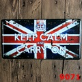15x30 cm  vintage license plates KEEP CALM AND CARRY ON  retro iron painting wall sticker number plate metal craft Decor