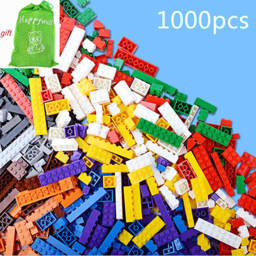 Happywill 1000pcs Basic Building Bricks Parts DIY Educational Toys 14 Shapes Small Blocks Brinquedos 80pcs 2x2 basic high bricks 2 2 4 holes diy building blocks toys