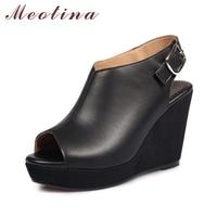 Meotina Genuine Leather Shoes Women Sandals Summer Platform Sandals Platform Wedges Gladiator Sandals High Heel Ladies