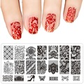 1Pcs DIY Nail Art Image Black Lace Flower Design Tool Equipment Stamp Stamping Plates Manicure Template 31 Styles for Choice