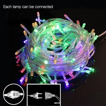 33FT 100 Led string light 10m 220V 110V christmas RGB warm white Tail EU/US plug holiday wedding decoration lights garland