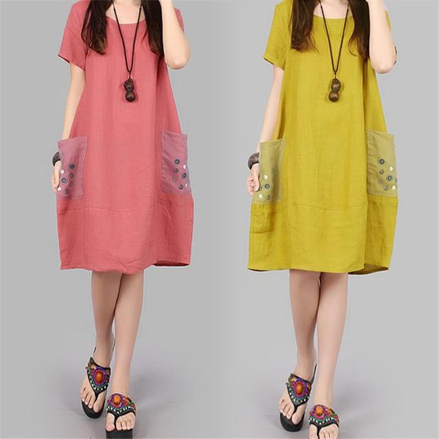 ecd0ca233fc Pregnant Women Summer 2017 Maternity Clothes Korean Cotton Linen Dress  Short Sleeved Large Size Pregnancy Dresses Vestido YFQ118