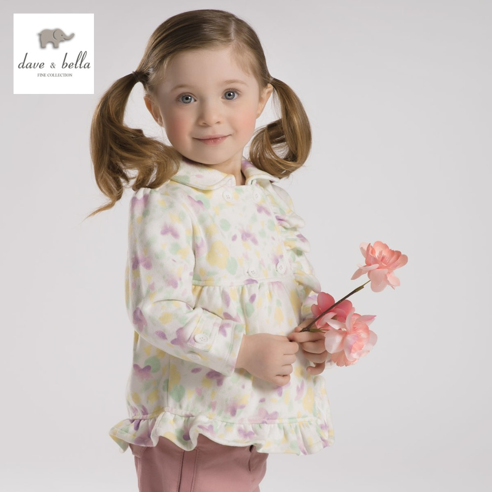 DB2067 dave bella spring autumn baby girl floral coat toddle clothes infant outerwear baby cotton tops kid coat girls pink coat