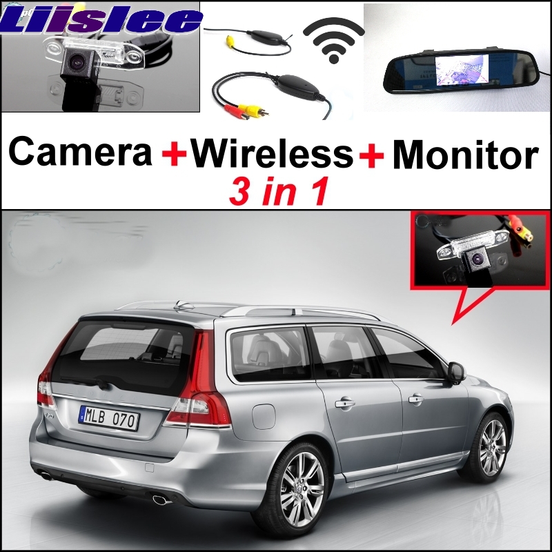 Liislee 3 in1 Special Wifi Camera + Wireless Receiver + Mirror Monitor Easy DIY Buck Up Parking System For Volvo V70 XC 70 XC70 wireless pager system 433 92mhz wireless restaurant table buzzer with monitor and watch receiver 3 display 42 call button