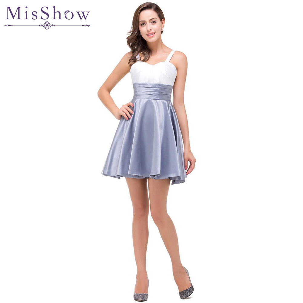 [Final Clear out] women   Prom     Dresses   2019 Sexy White & gray   Prom     Dress   Short Party Sweetheart Lace Up Mini   Prom   Gowns Evening