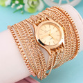 New Luxury Women Stylish Elegant Long Band Quartz Wristwatch 3 Ring Chain Bracelet Stainless Steel Starp Dress Watches Hot!