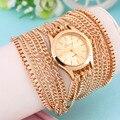 Novas Mulheres De Luxo Elegante elegante Longo Starp Banda Quartzo Relógio de Pulso 3 Pulseira Cadeia Anel De Aço Inoxidável Vestido Relógios Hot!